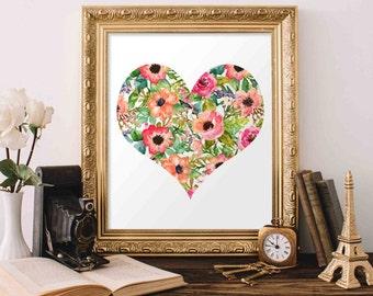 Printable Wall Art, Heart printable art, Baby Girl Nursery decor, Nursery art, Baby Girl Heart Nursery Print, love quote