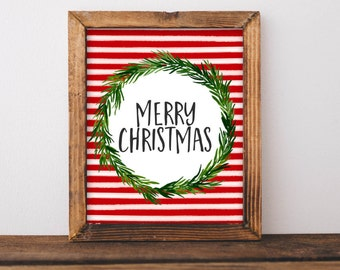 Christmas Printable Art Merry Christmas Print Watercolor Christmas art Christmas home decor Christmas Wall art Noel Santa Christmas sign art