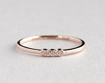 Rose Gold Plated Dainty Trio Bezel Ring, Minimalist Ring, Dainty Ring, 925 Sterling Silver Ring, Minimalist Jewelry, Rose Gold Ring