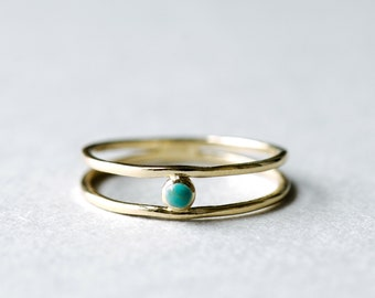 Yellow Gold Open Ring, Turquoise Ring, Rose and Choc, Minimalist Ring, Dainty Ring, Gift For Her