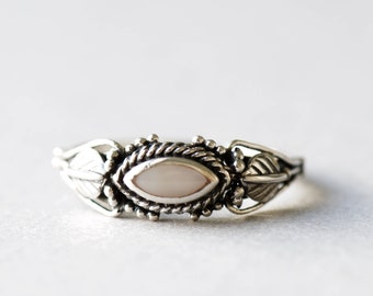 Mother of Pearl Ring, 925 Sterling Silver Ring, Marquise Ring, Roseandchoc Ring, Boho Ring, Art Deco Ring
