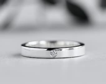 Silver Ring With Diamond, Wedding Band, Flush Setting Diamond Ring, Flat Band, Rose and Choc Ring, Silver Ring