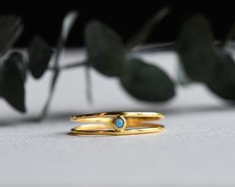 14k Yellow Gold Plated Open Ring, Turquoise Ring, Rose and Choc, Minimalist Ring, Dainty Ring, Gift For Her
