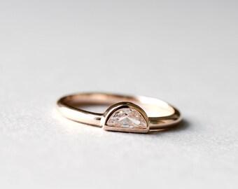 d7a39b1238 14k Rose Gold Half Moon Ring, 925 Sterling Silver, Rose Gold Ring,  Roseandchoc Ring, Stacking Ring, Dainty Ring, Minimalist Ring