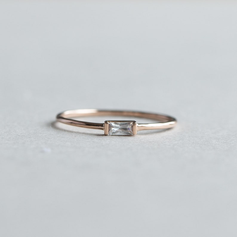 14k Solid Gold Baguette Ring Rose and Choc East West Baguette Dainty Ring Thin Ring Stackable Ring