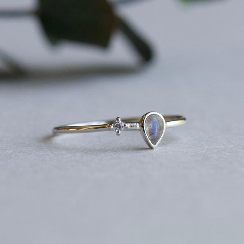 Teardrop Ring Rose and Choc Ring Minimalist Ring Silver Labradorite Ring 925 Sterling Silver Ring Dainty Ring