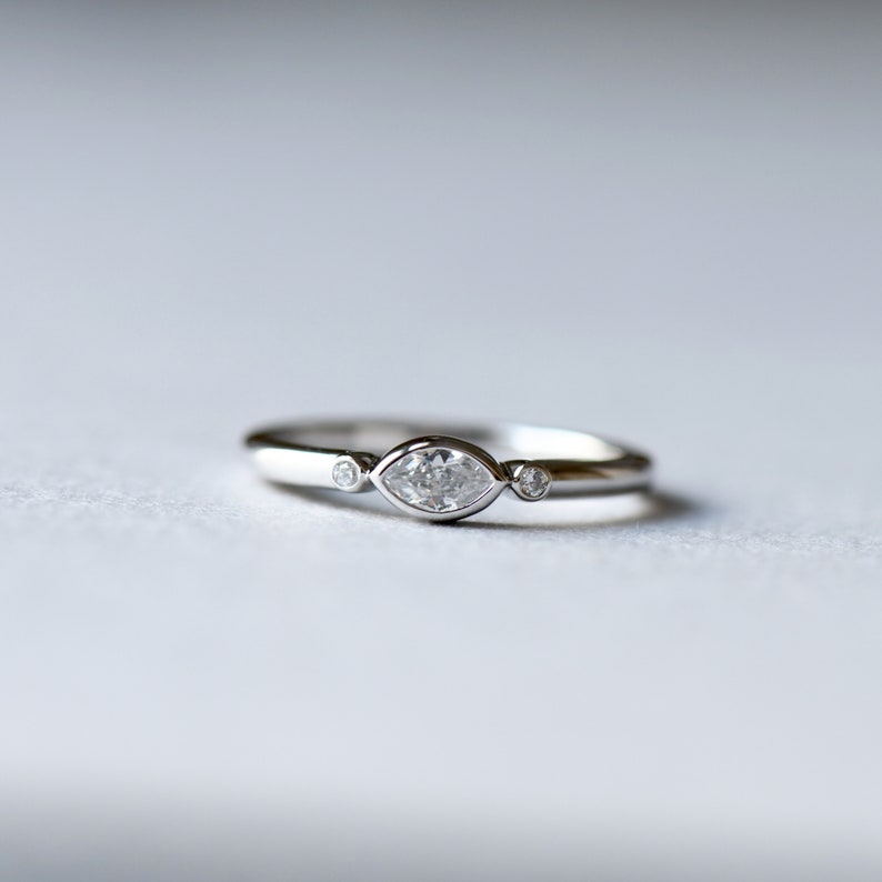 Stacking Ring Rose and Choc 14k White Gold Marquise Ring Dainty Ring