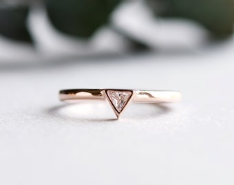 Rose Gold Ring, Triangle Ring, Dainty Ring, Minimalist Ring, Trillion Ring, Rose and Choc Ring