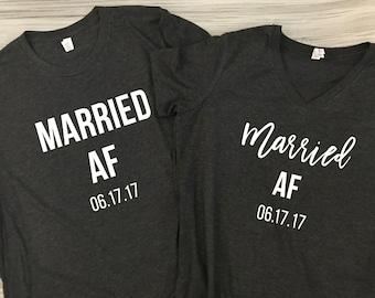 edc218b5e829 Married AF - Husband and Wife Shirt Set - Just Married shirt set - Wedding  gift - Bridal shower gift - Honeymoon shirts