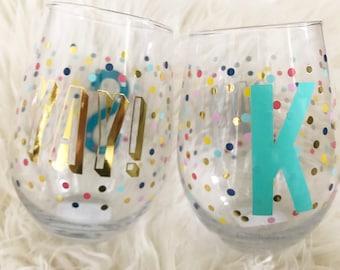 Yay! wine glass - Girls trip wine glass - Wedding wine glass - Celebrate stemless wine glass - Bachelorette wine glass - Gift for Her