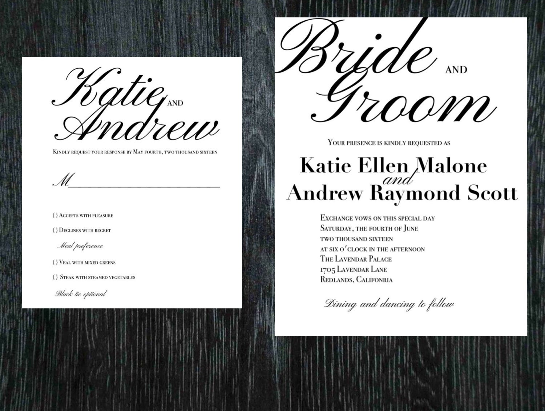 Script Wedding Invitation And Wedding Rsvp Set Cursive Elegant Etsy
