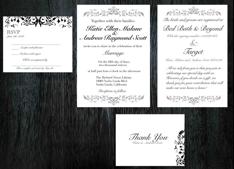 Elegant wedding invitations, RSVP cards, thank you cards, or ...