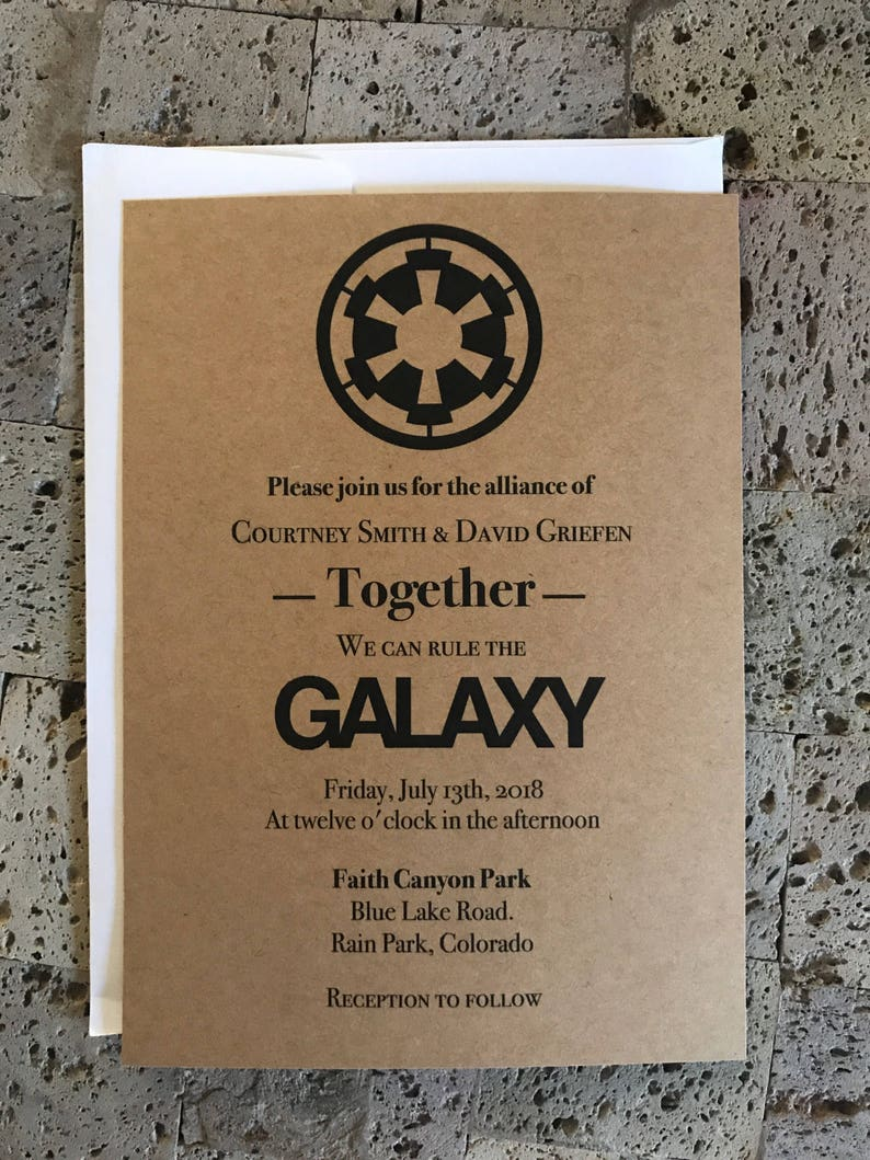 Rustic Star Wars Themed Wedding Invitation And Rsvp Card Set Etsy