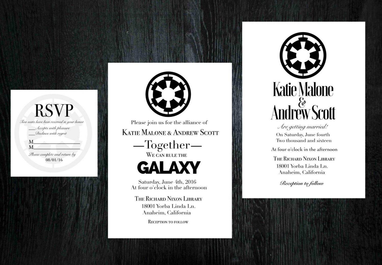 Star Wars Wedding Invitation Rsvp Set Etsy