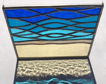 Handmade Sand & Sea Small Beach Stained Glass