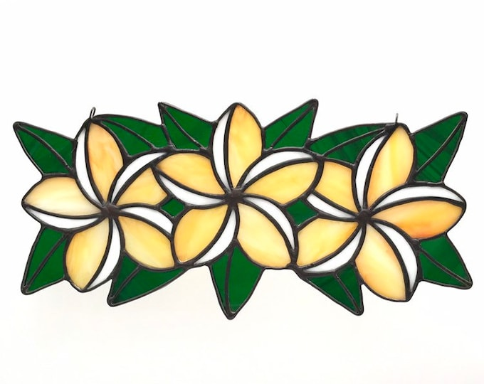 Featured listing image: Yellow Orange and  White Moana Plumeria Flower Crown / lei / Wreath Stained Glass Suncatcher