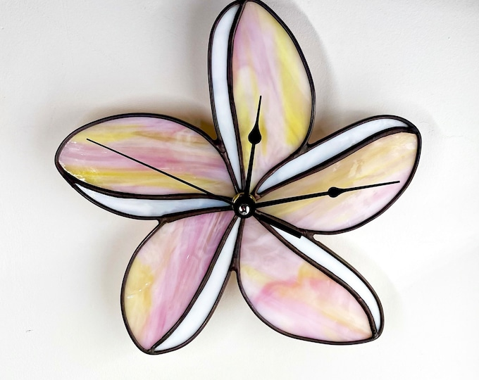 Featured listing image: Plumeria Stained Glass Clock