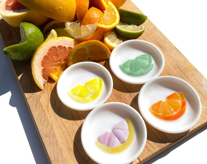 Featured listing image: Citrus Fruit Fused Glass Ring dishes