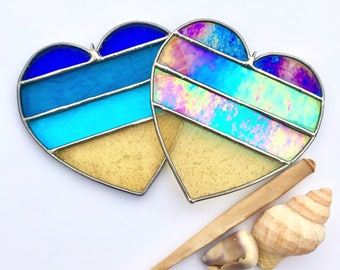 Handmade Hearts at the Beach Stained Glass  Ornament (1)