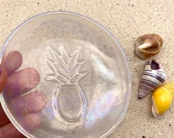Pineapple Fused Glass Ring dish, Trinket dish