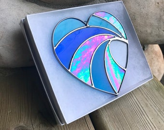 Handmade Crashing Iridescent Heart Wave Stained Glass, Valentines gift, Mother's Day Anniversary gift, Wedding Day Gift,Home decor