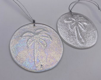 Iridescent Clear Palm Tree Turtle Fused Glass, Valentines gift, Mother's Day Anniversary gift, WeddingDay Gift, Suncatcher,Home decor
