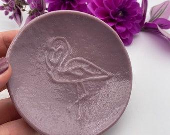 Purple Flamingos Fused Glass Ring dish