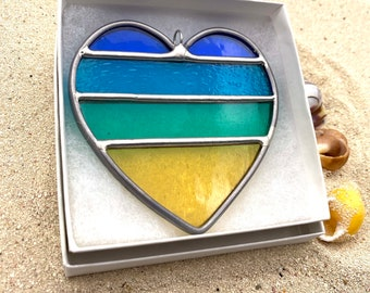 Hearts at the Beach Stained Glass  Ornament (1), Valentines gift, Mother's Day Anniversary gift, WeddingDay Gift, Suncatcher,Home decor