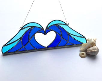 Handmade Crashing Waves Heart Stained Glass,  Valentines gift, Mother's Day Anniversary gift, WeddingDay Gift, Suncatcher,Home decor