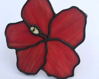 Handmade Red Hibiscus Stained Glass Suncatcher,  Valentines gift, Mother's Day Anniversary gift, WeddingDay Gift, Suncatcher,Home decor