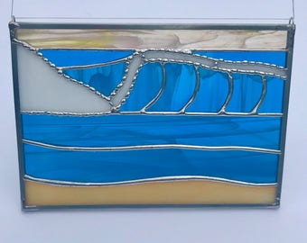 Handmade Crashing Wave Beach Small Stained Glass