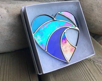 Handmade Crashing Wave Heart Stained Glass  Ornament, Valentines gift, Mother's Day Anniversary gift, WeddingDay Gift, Suncatcher,Home decor