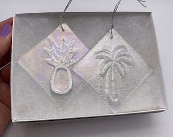 Palm tree and pineapple Iridescent Fused glass Ornament set