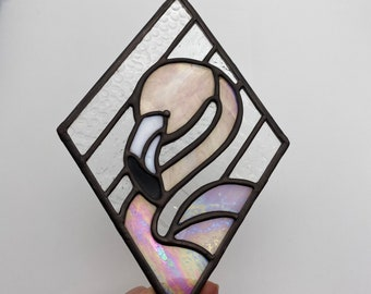 Feathery Pink Flamingo and Iridescent Diamond Love Stained Glass, , Mother's day Gift Ideas