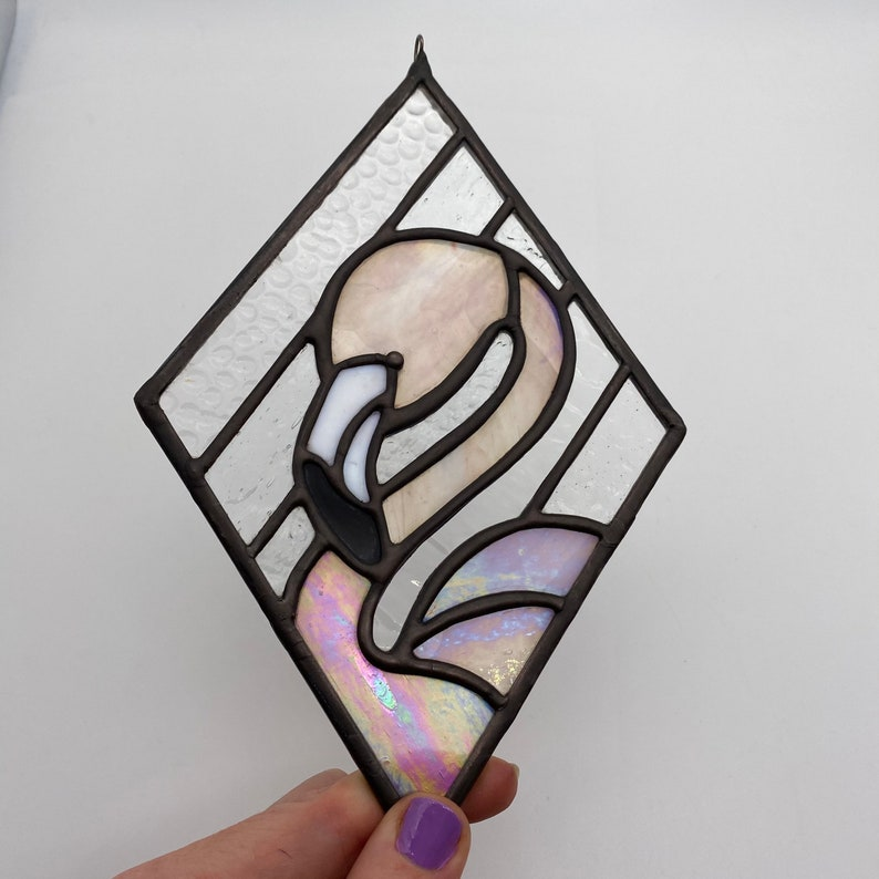 Feathery Pink Flamingo and Iridescent Diamond Love Stained image 1