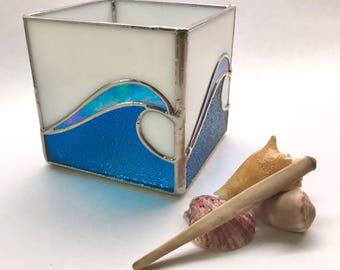 Handmade Stained Glass Crashing Waves Tea Light Candle Holder