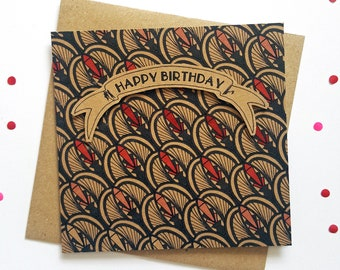 Art Deco Birthday Card, vintage design patterned greeting card with 3D happy birthday banner. Ideal for for wife, girlfriend, best friend
