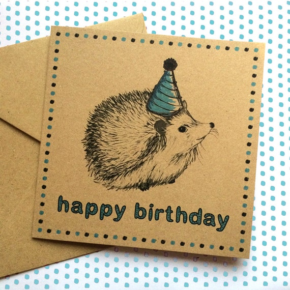 Hedgehog Birthday Card Woodland Illustration With Party Hat Etsy