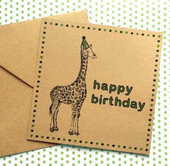 Giraffe Birthday Card Safari Animal Illustration With Party Etsy