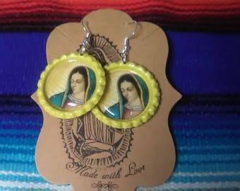 Yellow Lady of Guadalupe Bottle Cap Earrings
