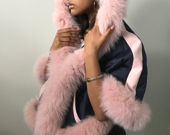 Stylish quilted coat cape poncho trim real arctic fox fur