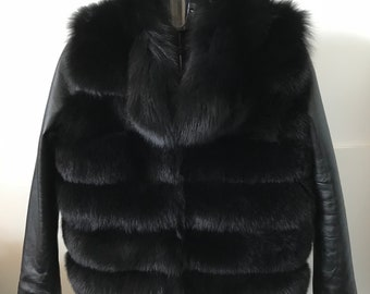 Bolero Jacke Mantel Leder Und Pelz Polarfuchs