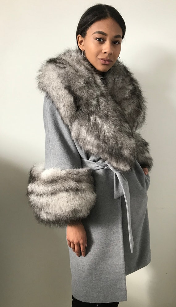 Stylish Cashmere Coat Natural Arctic Fox Fur by Etsy