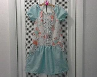 Girls Dress, Peasant Dress, Drop Waist Dress, Size 7