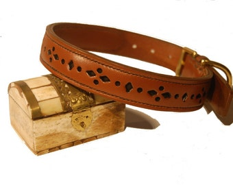 Exquisite Leather Dog Collar (Hand Made)