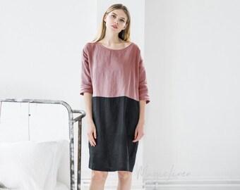 Losse pasvorm linnen jurk GRENADA. Kleur blok jurk. Lichte stoffige paarse en zwarte linnen tuniek. Gewassen linnen kleding voor vrouwen.