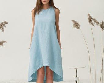 c2264ceed0 Light blue linen dress ICARIA. Sleeveless knee-length dress