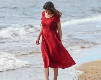Linen dress with ties MORELLA. Loose fitted dress with adjustable waist. Linen womens clothing. Handmade.
