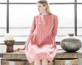 Linen dress SIRACUSA. 15 colours. Linen womens clothing. Handmade washed linen dress.