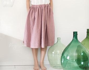 Linen skirt DENIA. Various colors available. Knee-length linen skirt with pockets. Midi linen skirt. Elasticated waistband linen skirt.
